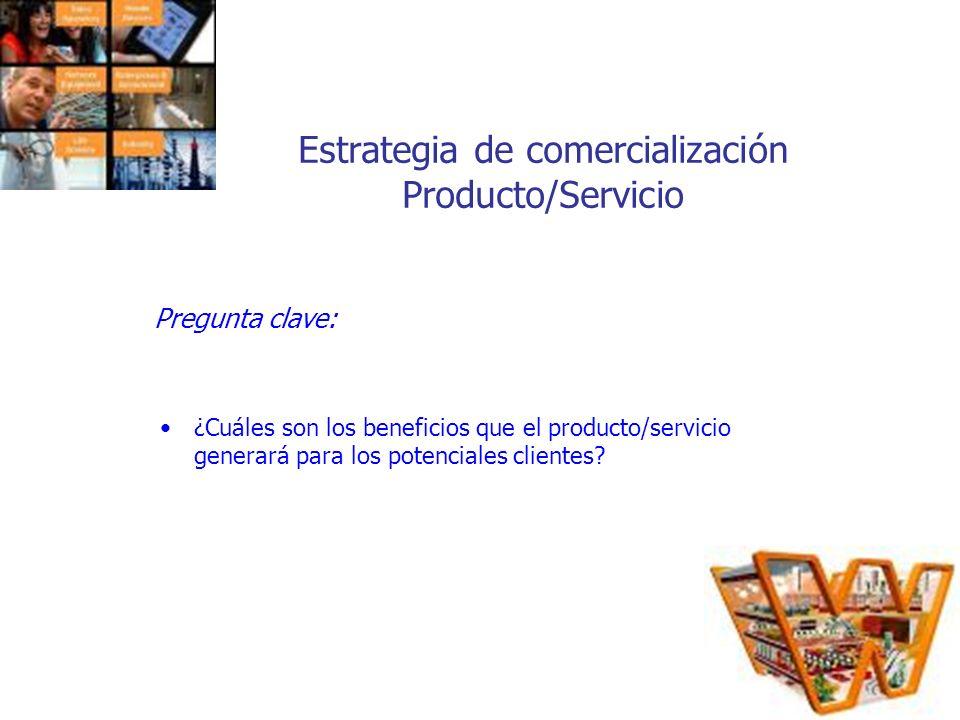 Estrategia de comercialización Producto/Servicio Pregunta clave: ¿Cuáles son los beneficios que el producto/servicio generará para los potenciales cli