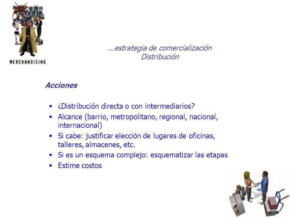 ...estrategia de comercialización Distribución Acciones ¿Distribución directa o con intermediarios? Alcance (barrio, metropolitano, regional, nacional
