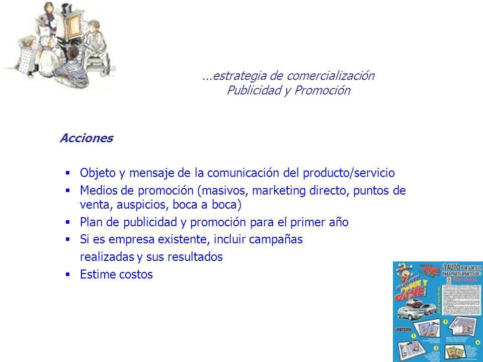 ...estrategia de comercialización Publicidad y Promoción Acciones Objeto y mensaje de la comunicación del producto/servicio Medios de promoción (masiv