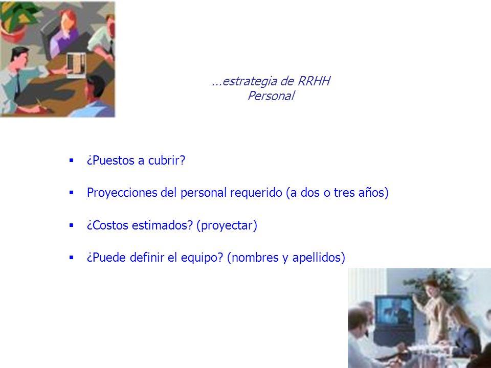 ...estrategia de RRHH Personal ¿Puestos a cubrir? Proyecciones del personal requerido (a dos o tres años) ¿Costos estimados? (proyectar) ¿Puede defini