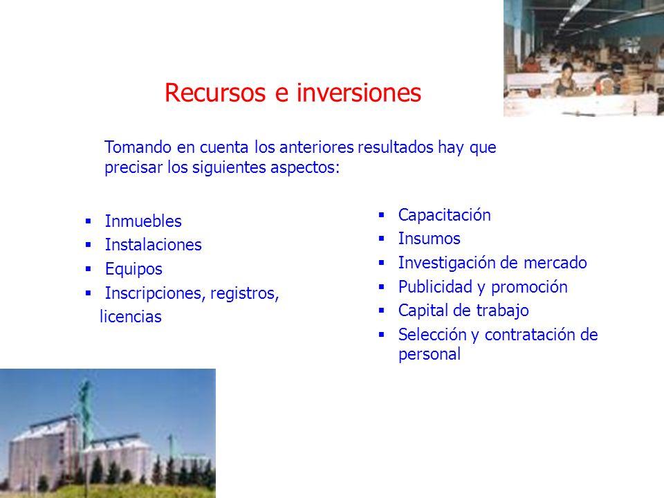 Recursos e inversiones Inmuebles Instalaciones Equipos Inscripciones, registros, licencias Capacitación Insumos Investigación de mercado Publicidad y