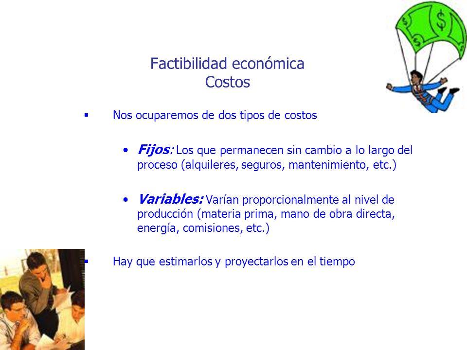 Factibilidad económica Costos Nos ocuparemos de dos tipos de costos Fijos: Los que permanecen sin cambio a lo largo del proceso (alquileres, seguros,