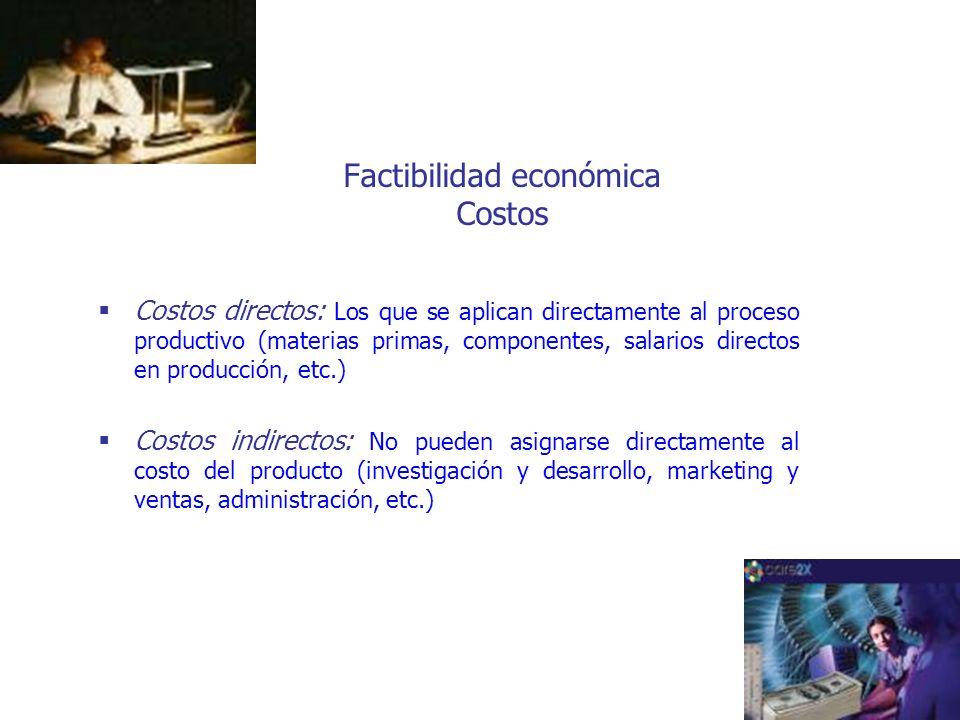 Factibilidad económica Costos Costos directos: Los que se aplican directamente al proceso productivo (materias primas, componentes, salarios directos