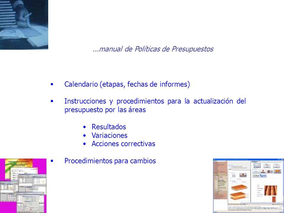 ...manual de Políticas de Presupuestos Calendario (etapas, fechas de informes) Instrucciones y procedimientos para la actualización del presupuesto po