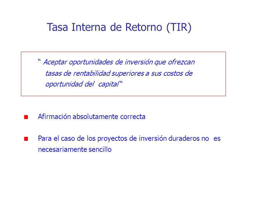 Tasa Interna de Retorno (TIR) Aceptar oportunidades de inversión que ofrezcan tasas de rentabilidad superiores a sus costos de oportunidad del capital