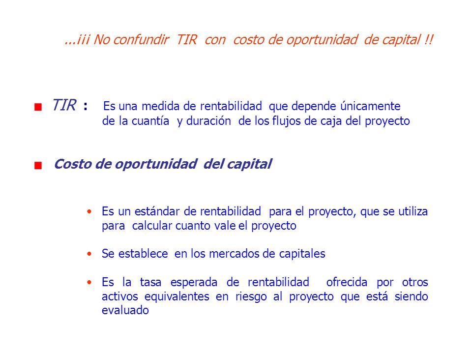 ...¡¡¡ No confundir TIR con costo de oportunidad de capital !! TIR : Es una medida de rentabilidad que depende únicamente de la cuantía y duración de