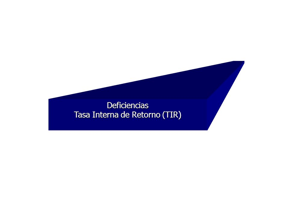 Deficiencias Tasa Interna de Retorno (TIR )