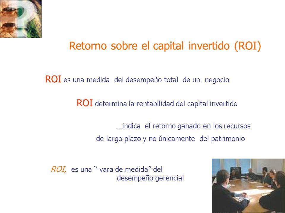 ROI, es una vara de medida del desempeño gerencial Retorno sobre el capital invertido (ROI) ROI es una medida del desempeño total de un negocio ROI de