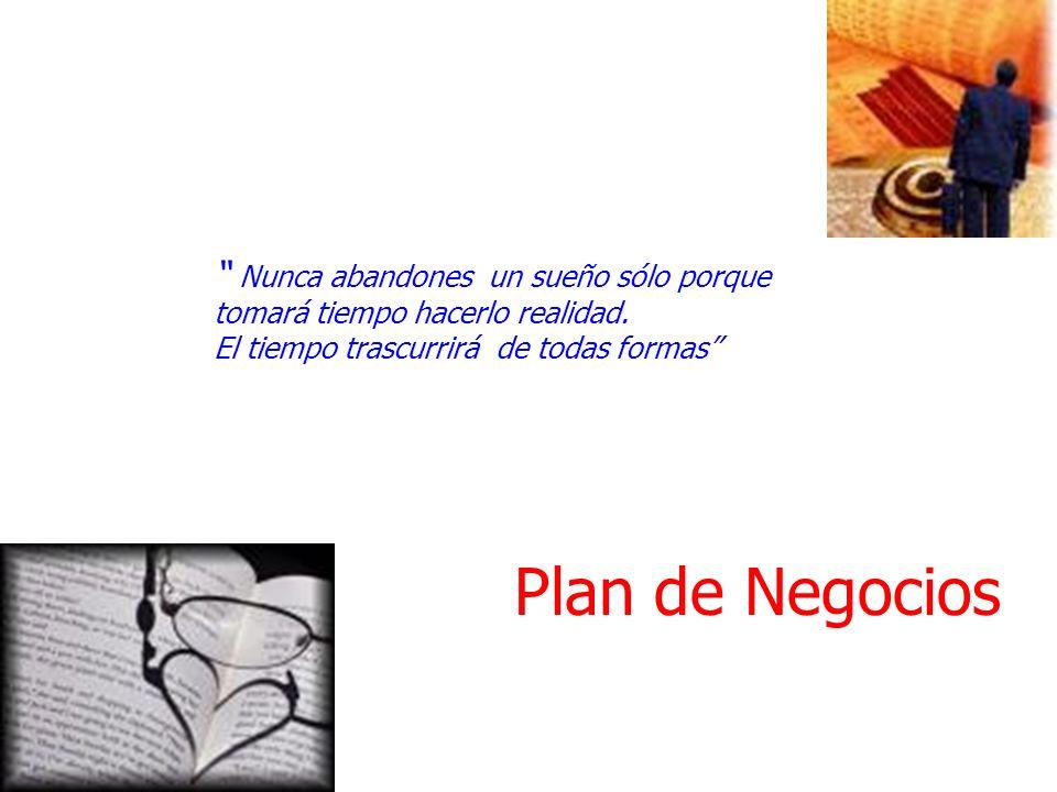 Plan de Negocios Nunca abandones un sueño sólo porque tomará tiempo hacerlo realidad. El tiempo trascurrirá de todas formas