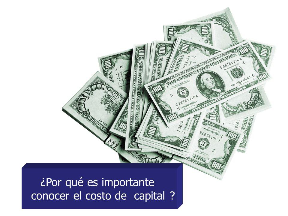 ¿Por qué es importante conocer el costo de capital ?