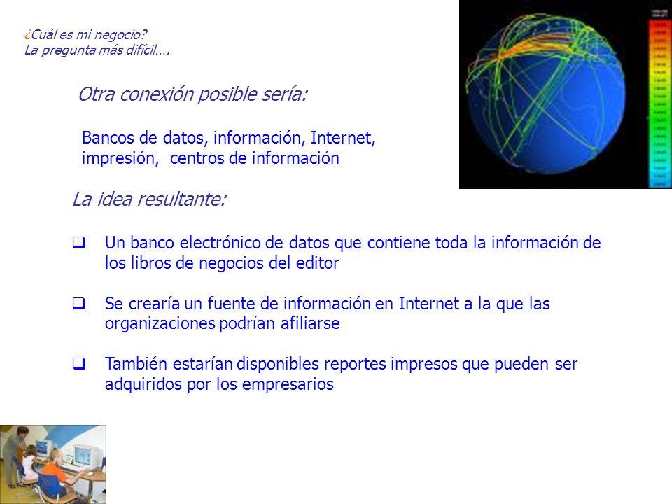 Otra conexión posible sería: Bancos de datos, información, Internet, impresión, centros de información La idea resultante: Un banco electrónico de dat