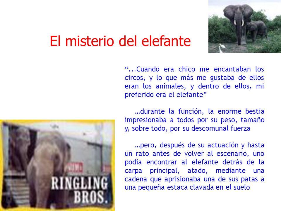 ....la estaca era solo un minúsculo pedazo de madera, apenas enterrado unos centímetros en la tierra …y aunque la cadena era gruesa y poderosa, me parecía obvio que ese animal capaz de arrancar un árbol de cuajo, podría con facilidad, arrancar la estaca y huir.....El misterio del elefante El misterio es evidente: ¿Por qué el elefante no huye, arrancando la pequeña estaca, con el mismo esfuerzo que yo necesitaría para romper un palito de fósforos.