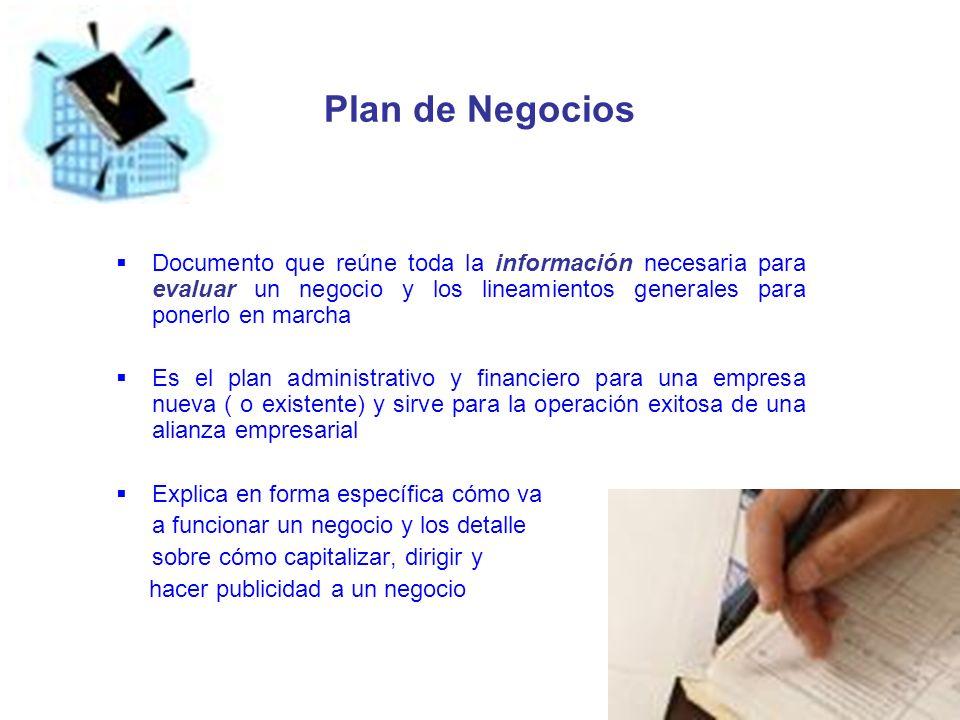 Plan de Negocios Documento que reúne toda la información necesaria para evaluar un negocio y los lineamientos generales para ponerlo en marcha Es el p