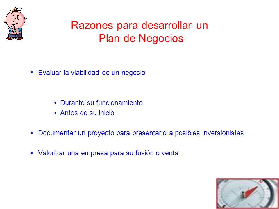 Razones para desarrollar un Plan de Negocios Evaluar la viabilidad de un negocio Durante su funcionamiento Antes de su inicio Documentar un proyecto p