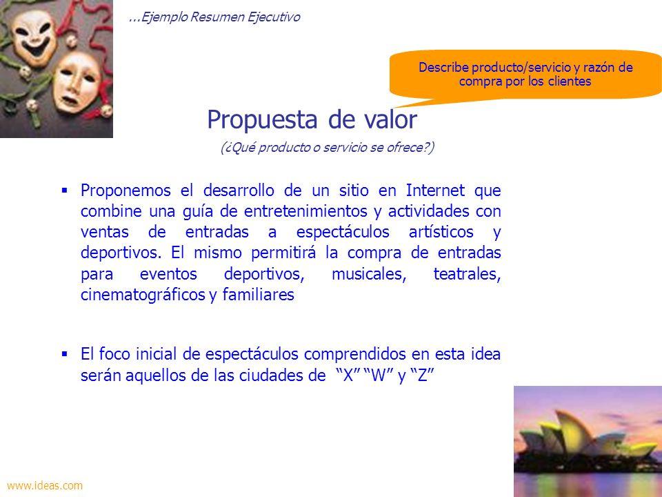 Describe producto/servicio y razón de compra por los clientes Proponemos el desarrollo de un sitio en Internet que combine una guía de entretenimiento