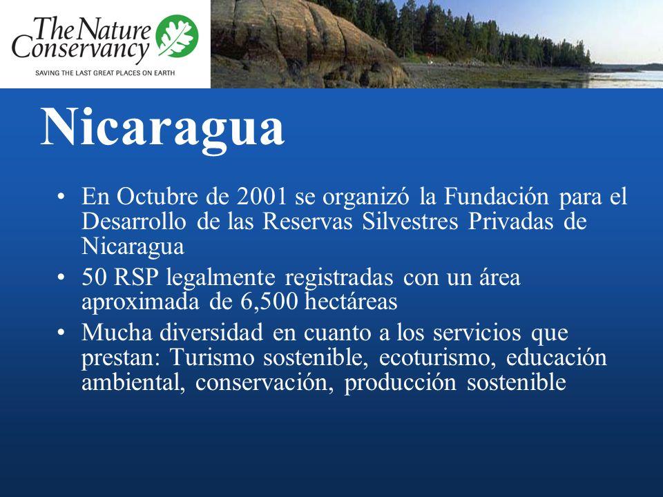 Nicaragua En el año 2001 surgen las primeras Reservas Silvestres Privadas Requisitos para aplicar: –Valoración legal y técnica de parte del SINAP –Res