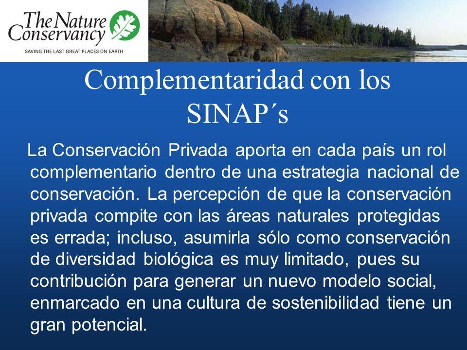 Complementaridad con los SINAP´s La Conservación Privada aporta en cada país un rol complementario dentro de una estrategia nacional de conservación.
