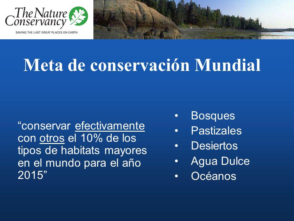Meta de conservación Mundial conservar efectivamente con otros el 10% de los tipos de habitats mayores en el mundo para el año 2015 Bosques Pastizales Desiertos Agua Dulce Océanos