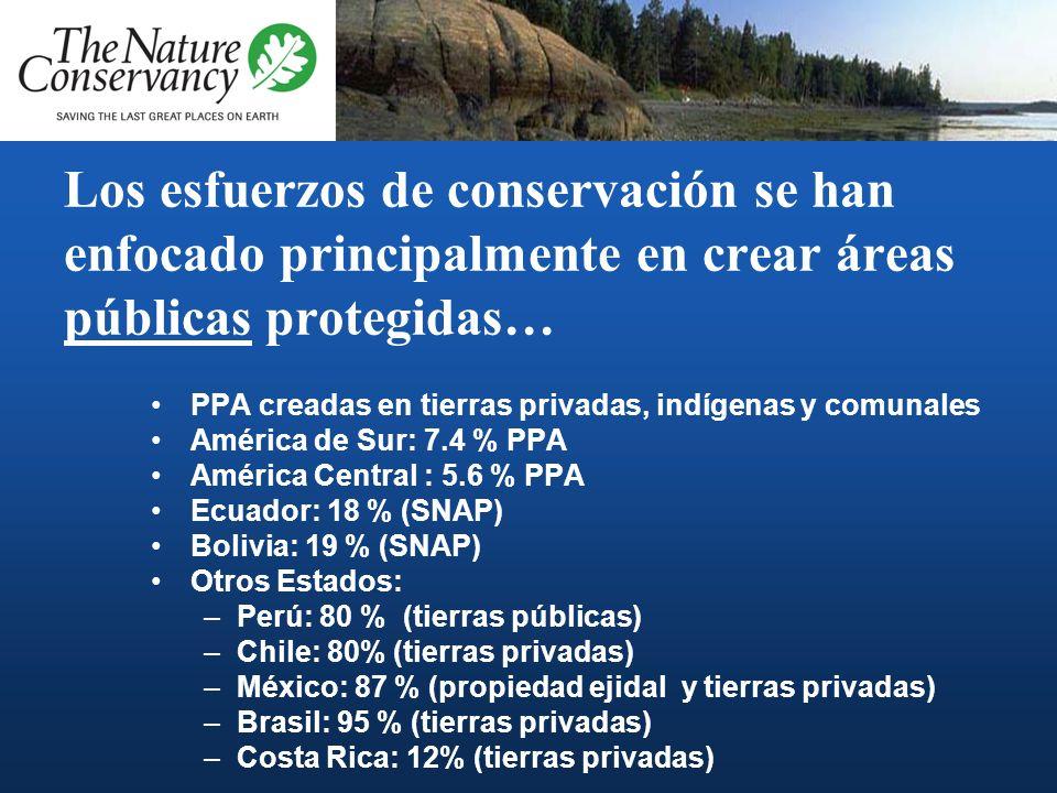 Los esfuerzos de conservación se han enfocado principalmente en crear áreas públicas protegidas… PPA creadas en tierras privadas, indígenas y comunales América de Sur: 7.4 % PPA América Central : 5.6 % PPA Ecuador: 18 % (SNAP) Bolivia: 19 % (SNAP) Otros Estados: –Perú: 80 % (tierras públicas) –Chile: 80% (tierras privadas) –México: 87 % (propiedad ejidal y tierras privadas) –Brasil: 95 % (tierras privadas) –Costa Rica: 12% (tierras privadas)