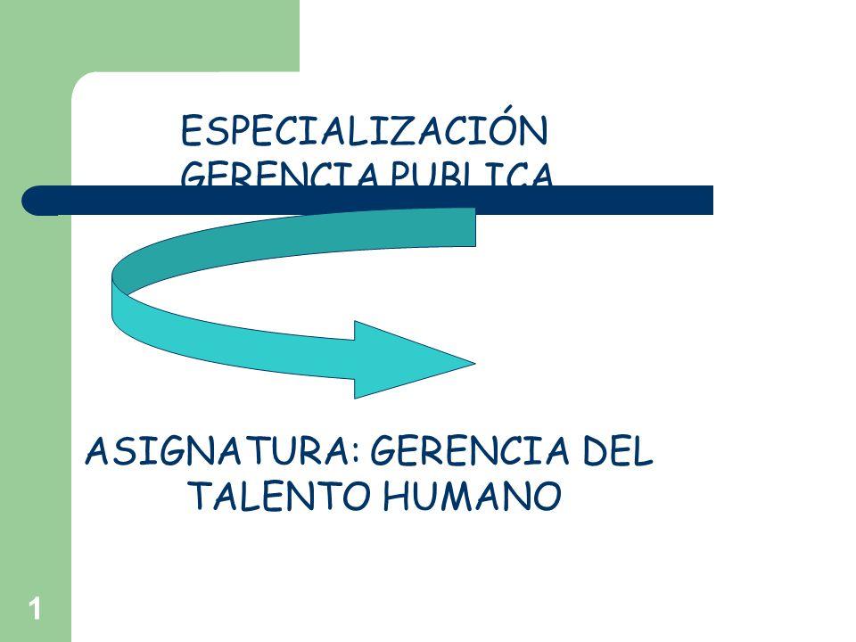 1 ESPECIALIZACIÓN GERENCIA PUBLICA ASIGNATURA: GERENCIA DEL TALENTO HUMANO
