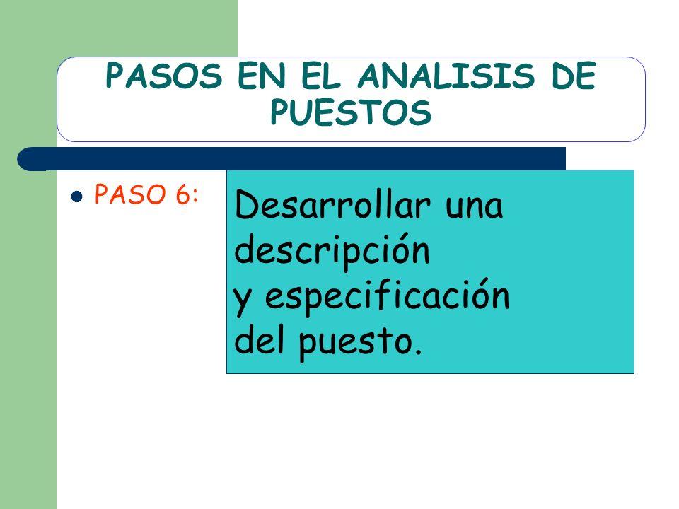 PASOS EN EL ANALISIS DE PUESTOS PASO 6: Desarrollar una descripción y especificación del puesto.