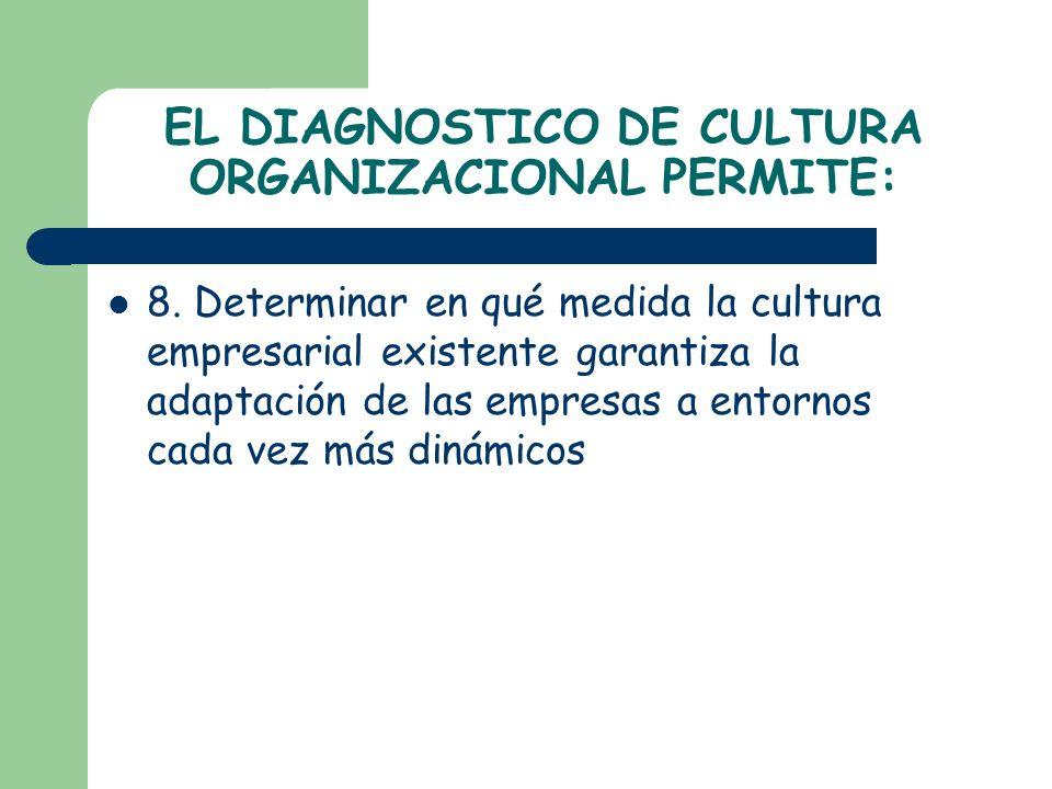 EL DIAGNOSTICO DE CULTURA ORGANIZACIONAL PERMITE: 8. Determinar en qué medida la cultura empresarial existente garantiza la adaptación de las empresas