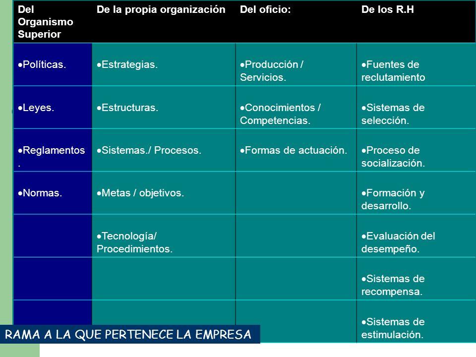Del Organismo Superior De la propia organizaciónDel oficio:De los R.H Políticas. Estrategias. Producción / Servicios. Fuentes de reclutamiento Leyes.