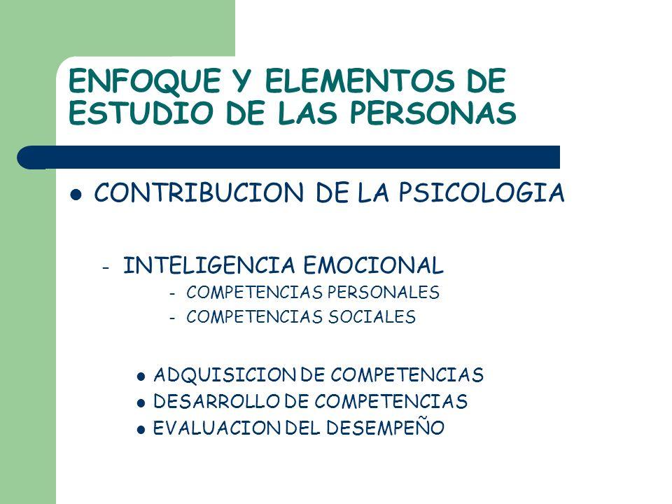 ENFOQUE Y ELEMENTOS DE ESTUDIO DE LAS PERSONAS CONTRIBUCION DE LA PSICOLOGIA – INTELIGENCIA EMOCIONAL – COMPETENCIAS PERSONALES – COMPETENCIAS SOCIALE
