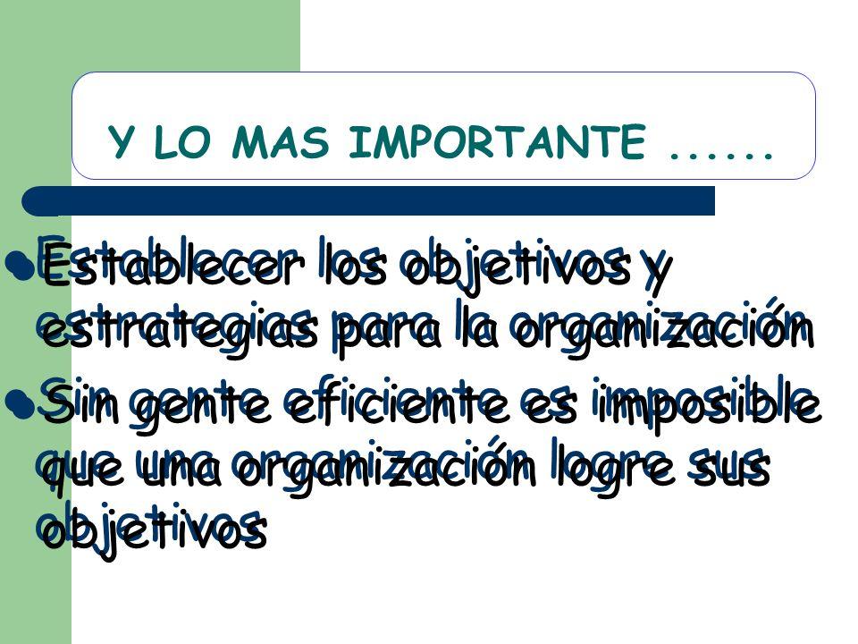 Y LO MAS IMPORTANTE...... Establecer los objetivos y estrategias para la organización Sin gente eficiente es imposible que una organización logre sus