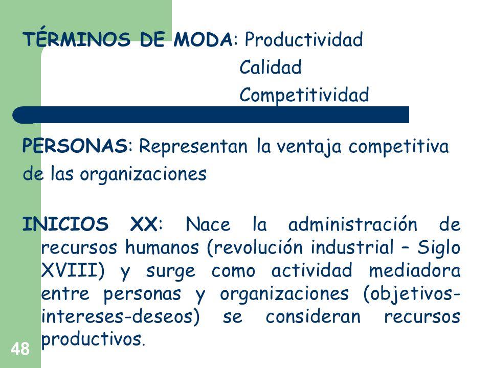 48 TÉRMINOS DE MODA: Productividad Calidad Competitividad PERSONAS: Representan la ventaja competitiva de las organizaciones INICIOS XX: Nace la admin
