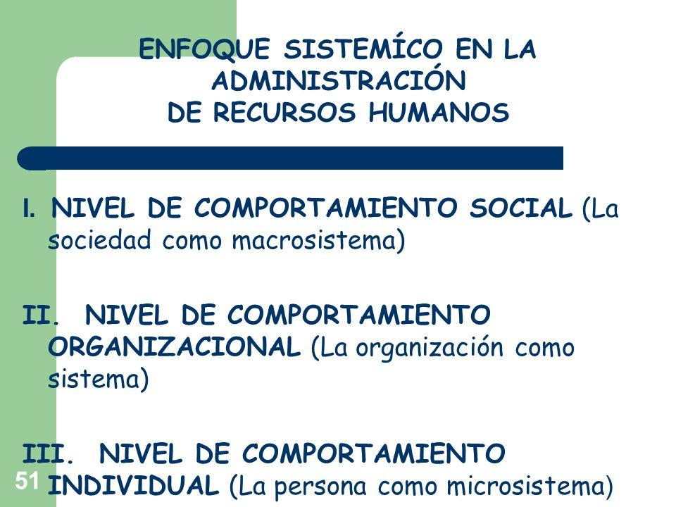 51 I. NIVEL DE COMPORTAMIENTO SOCIAL (La sociedad como macrosistema) II. NIVEL DE COMPORTAMIENTO ORGANIZACIONAL (La organización como sistema) III. NI