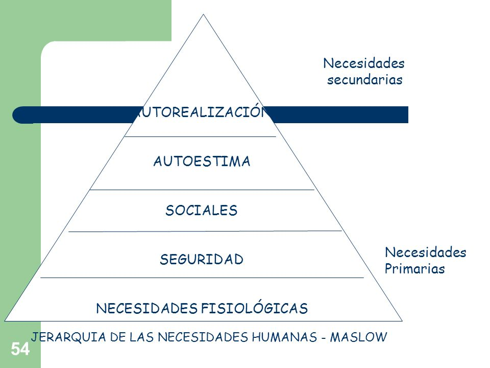 54 AUTOREALIZACIÓN AUTOESTIMA SOCIALES SEGURIDAD NECESIDADES FISIOLÓGICAS Necesidades secundarias Necesidades Primarias JERARQUIA DE LAS NECESIDADES H