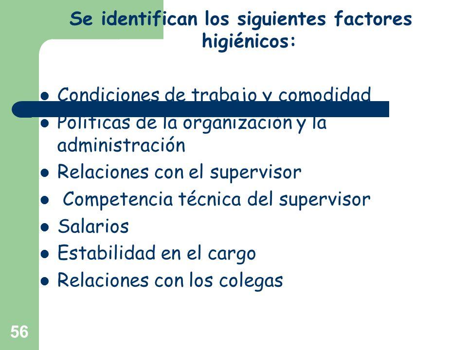 56 Se identifican los siguientes factores higiénicos: Condiciones de trabajo y comodidad Políticas de la organización y la administración Relaciones c