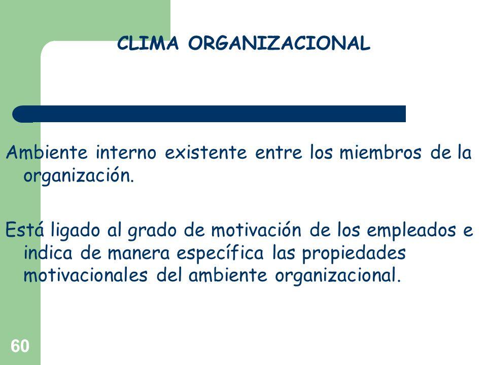 60 CLIMA ORGANIZACIONAL Ambiente interno existente entre los miembros de la organización. Está ligado al grado de motivación de los empleados e indica