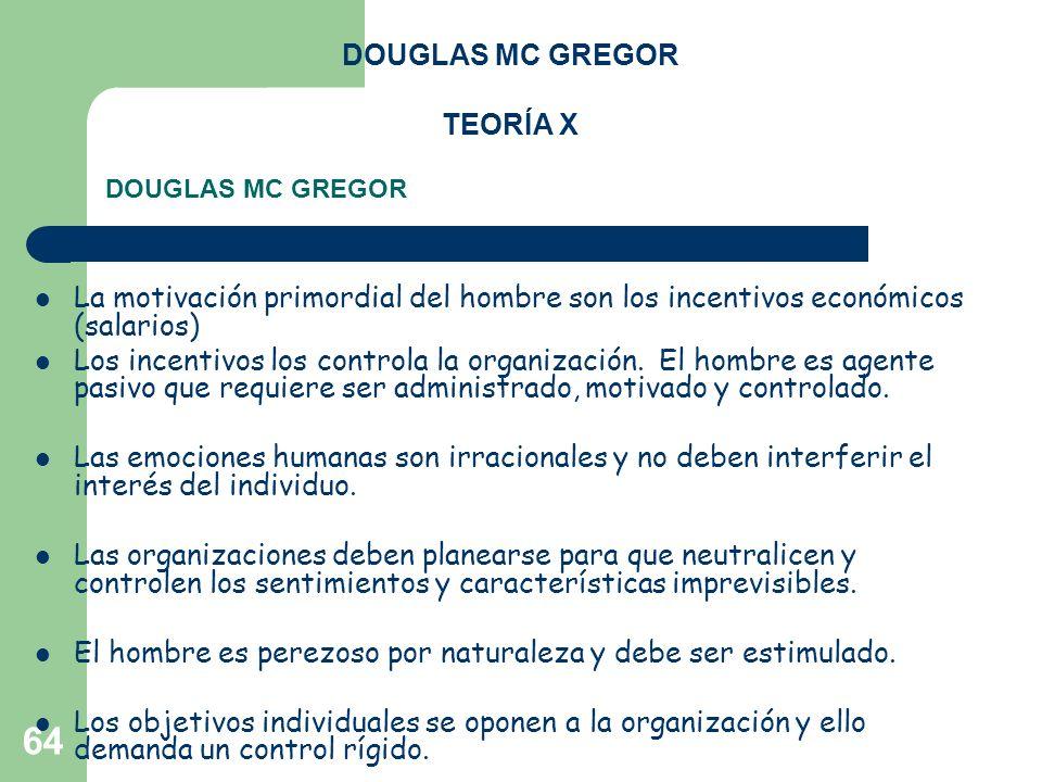 64 DOUGLAS MC GREGOR TEORÍA X La motivación primordial del hombre son los incentivos económicos (salarios) Los incentivos los controla la organización