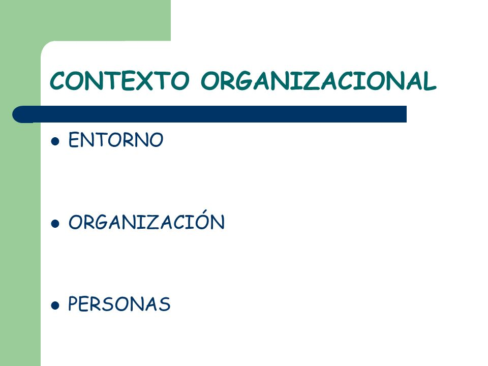 CONTEXTO ORGANIZACIONAL ENTORNO ORGANIZACIÓN PERSONAS