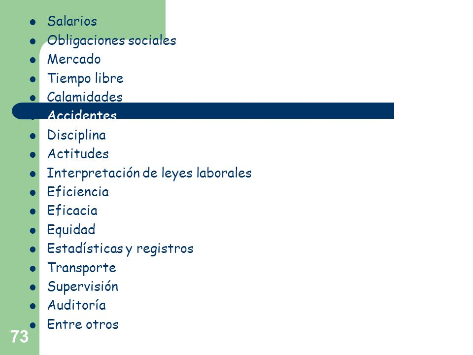 73 Salarios Obligaciones sociales Mercado Tiempo libre Calamidades Accidentes Disciplina Actitudes Interpretación de leyes laborales Eficiencia Eficac