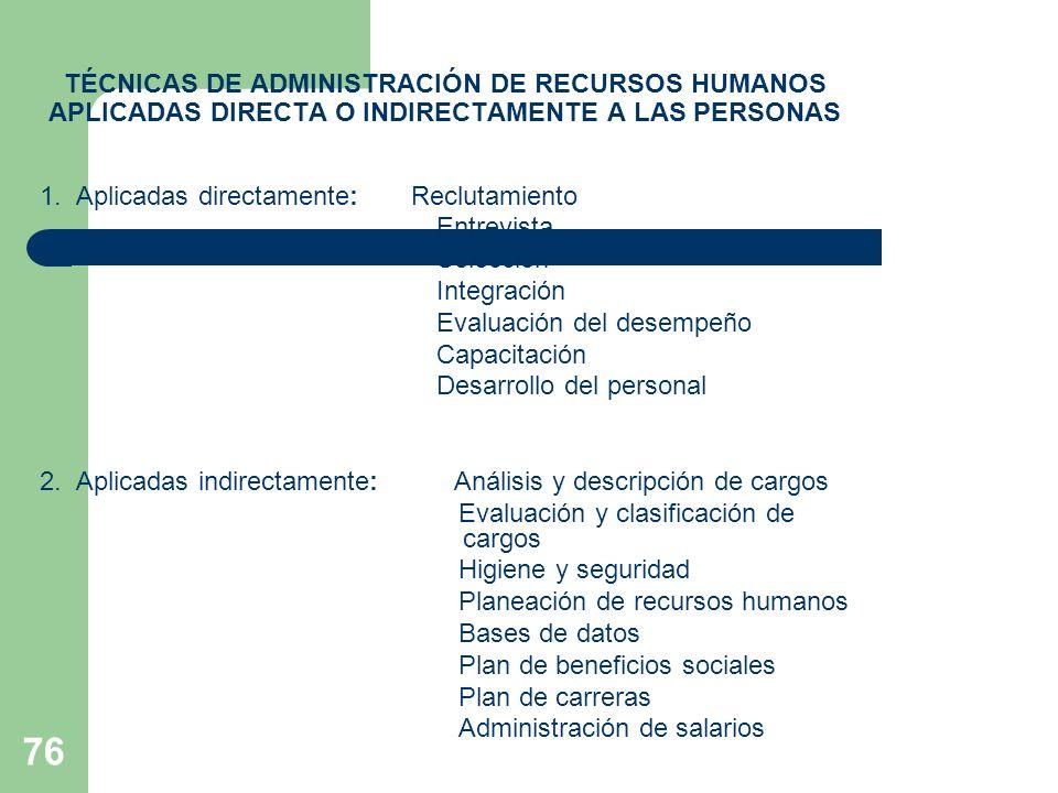 76 TÉCNICAS DE ADMINISTRACIÓN DE RECURSOS HUMANOS APLICADAS DIRECTA O INDIRECTAMENTE A LAS PERSONAS 1. Aplicadas directamente: Reclutamiento Entrevist