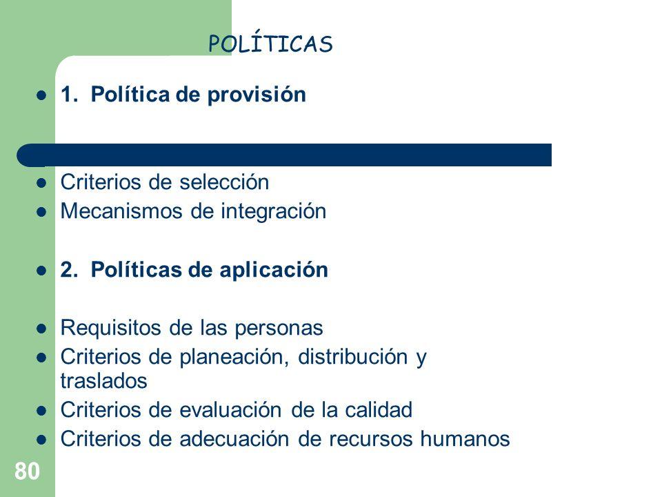 80 1. Política de provisión Dónde reclutar y qué técnica emplear Criterios de selección Mecanismos de integración 2. Políticas de aplicación Requisito