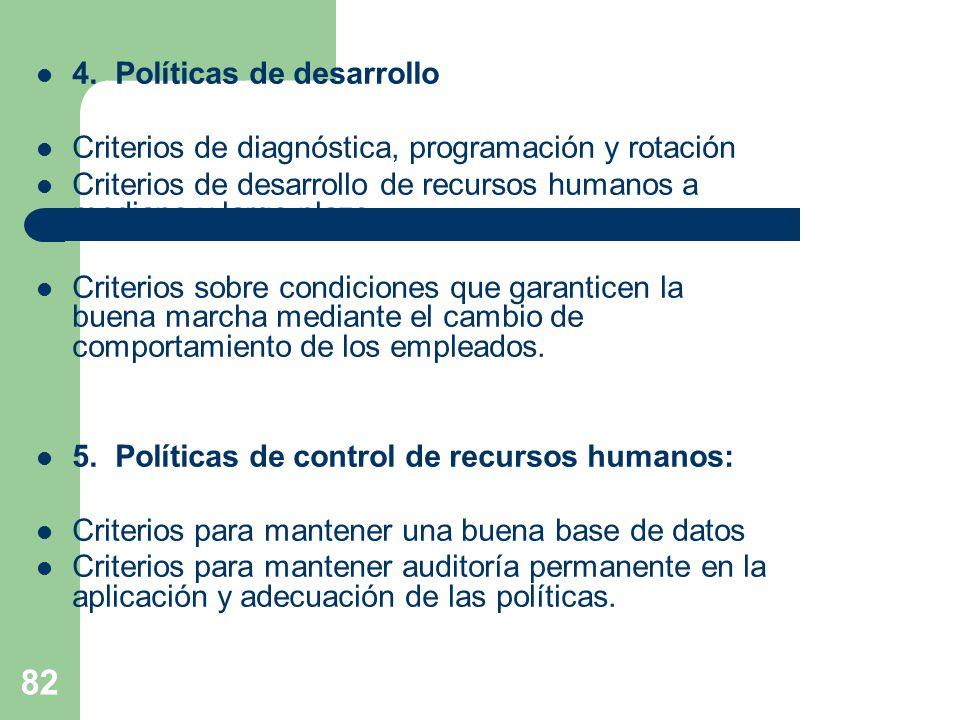 82 4. Políticas de desarrollo Criterios de diagnóstica, programación y rotación Criterios de desarrollo de recursos humanos a mediano y largo plazo Cr