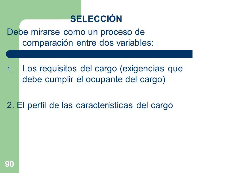90 SELECCIÓN Debe mirarse como un proceso de comparación entre dos variables: 1. Los requisitos del cargo (exigencias que debe cumplir el ocupante del