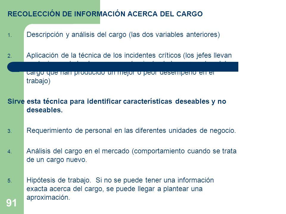 91 RECOLECCIÓN DE INFORMACIÓN ACERCA DEL CARGO 1. Descripción y análisis del cargo (las dos variables anteriores) 2. Aplicación de la técnica de los i