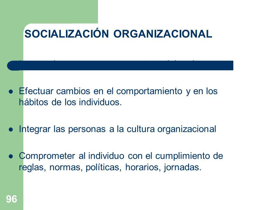 96 SOCIALIZACIÓN ORGANIZACIONAL Integrar las personas a su contexto laboral Efectuar cambios en el comportamiento y en los hábitos de los individuos.