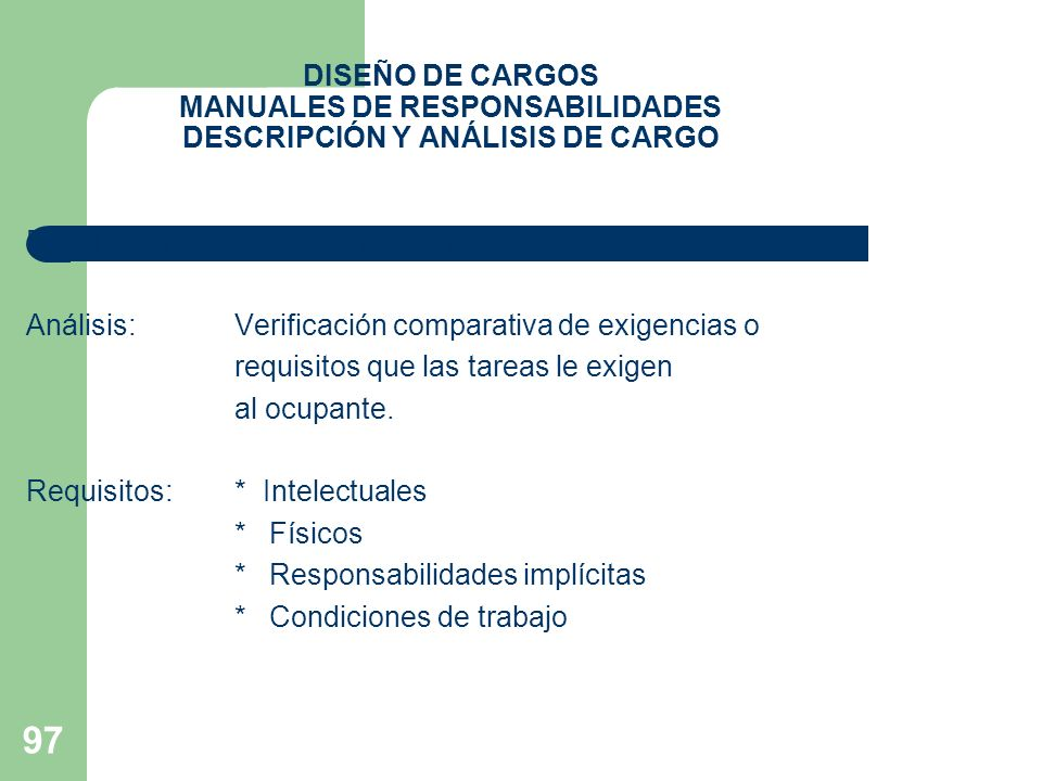 97 DISEÑO DE CARGOS MANUALES DE RESPONSABILIDADES DESCRIPCIÓN Y ANÁLISIS DE CARGO Descripción:Exposición de funciones y tareas Análisis:Verificación c