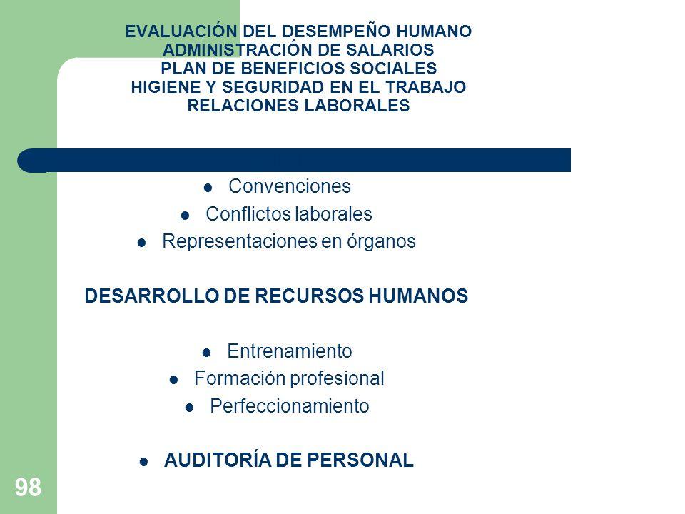 98 EVALUACIÓN DEL DESEMPEÑO HUMANO ADMINISTRACIÓN DE SALARIOS PLAN DE BENEFICIOS SOCIALES HIGIENE Y SEGURIDAD EN EL TRABAJO RELACIONES LABORALES Sindi