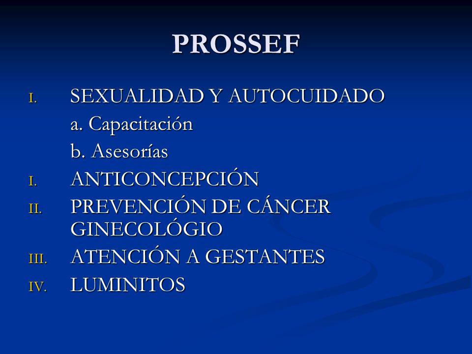 PROSSEF I. SEXUALIDAD Y AUTOCUIDADO a. Capacitación b.