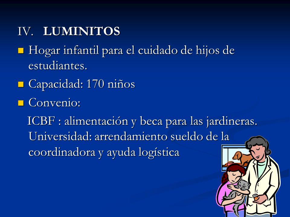 IV. LUMINITOS Hogar infantil para el cuidado de hijos de estudiantes.