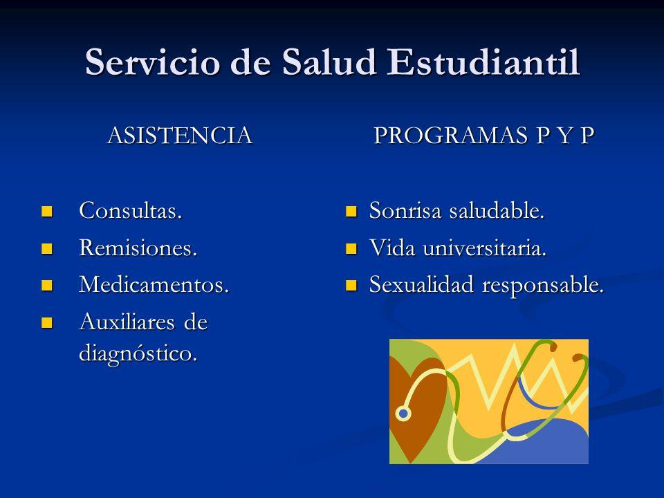 Servicio de Salud Estudiantil ASISTENCIA Consultas.