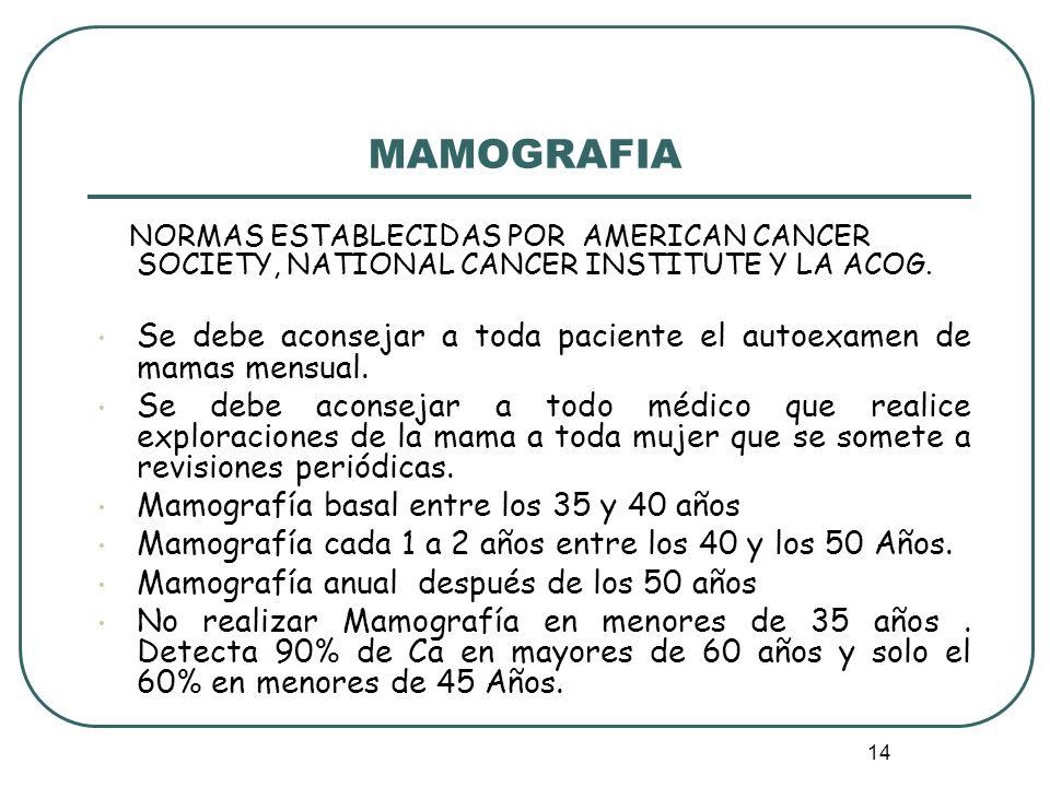 14 MAMOGRAFIA NORMAS ESTABLECIDAS POR AMERICAN CANCER SOCIETY, NATIONAL CANCER INSTITUTE Y LA ACOG. Se debe aconsejar a toda paciente el autoexamen de