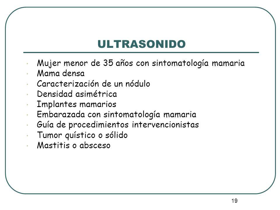 19 ULTRASONIDO Mujer menor de 35 años con sintomatología mamaria Mama densa Caracterización de un nódulo Densidad asimétrica Implantes mamarios Embara